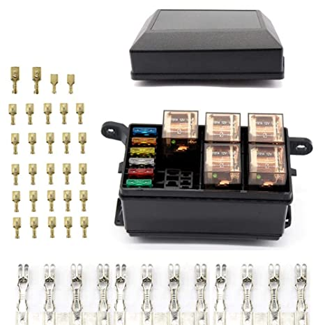 amazon com 6 way blade fuse holder box car relay box with spade rh amazon com