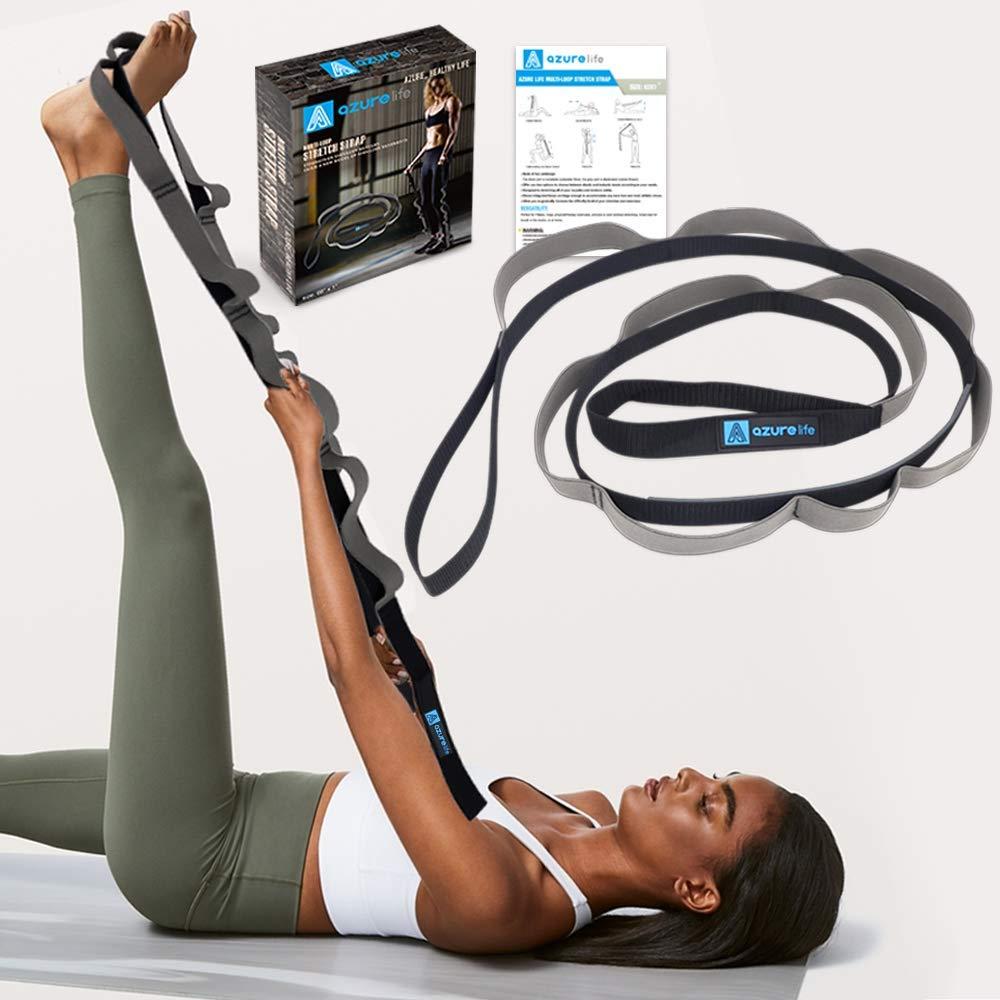 Amazon.com : A AZURELIFE Multi-Loop Yoga Strap, Light and ...