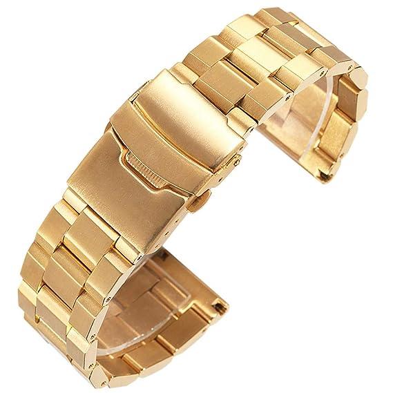 Acero Inoxidable Correa de Reloj daptsy de Reloj Original de 18 mm de Oro clásico diseño