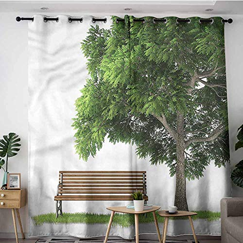 XXANS Thermal Insulating Blackout Curtains,Tree,Park Bench Under an Oak Fall,Blackout Window Curtain 2 Panel,W108x72L