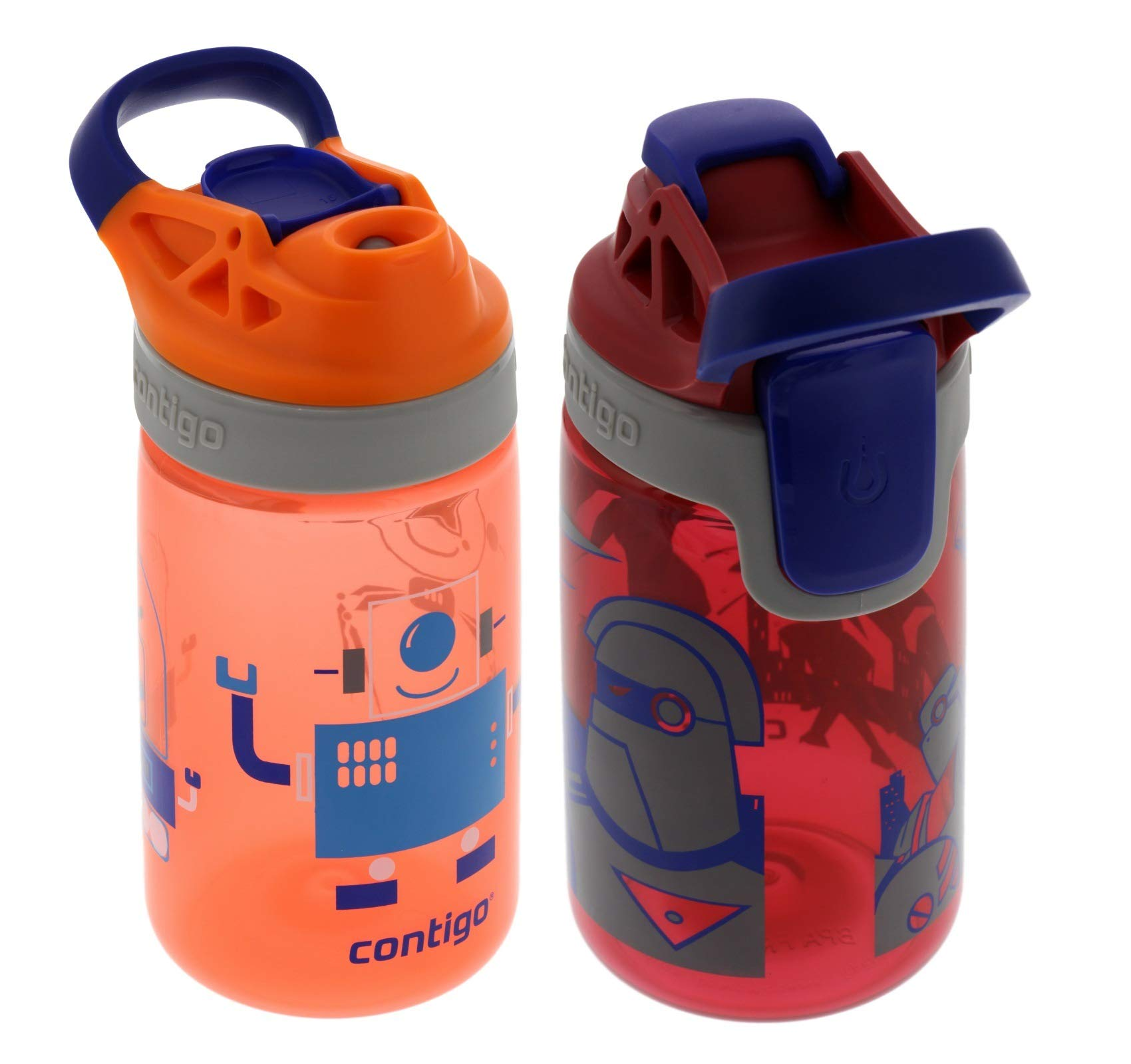 Contigo 14oz Kids Autoseal Gizmo Sip Water Bottles, Nectarine & Cardinal (2 Pack) - Perfect for Children & Parents on the Go