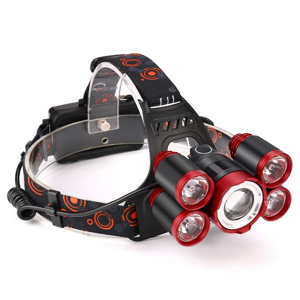 USHOT 5 lamp Head (Set), 35000LM 5X XM-L T6 LED Rechargeable 18650 Headlamp Head Light Zoomable Torch