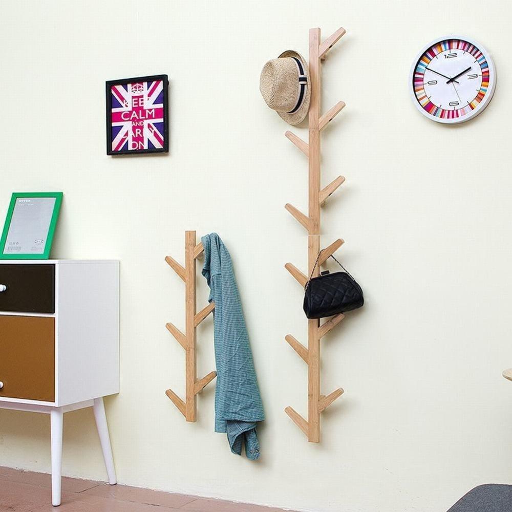 WEII Perchero de Pared de Madera Maciza para Colgar en el salón o el Dormitorio, Wood Color, 123 * 22 * 7cm