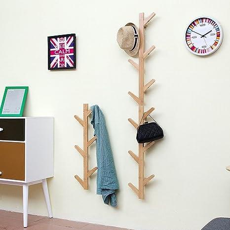 WEII Perchero de Pared de Madera Maciza para Colgar en el salón o el Dormitorio, Wood Color, 78 * 22 * 7cm