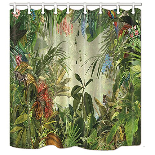 Rug Black Rain (NYMB Tropical Rainforest Decor, Animals in The Palm and Banana Leaves Bath Curtain, Polyester Fabric Green Plant Shower Curtains, Bathroom Shower Curtain with Rings,69X70in, Green)
