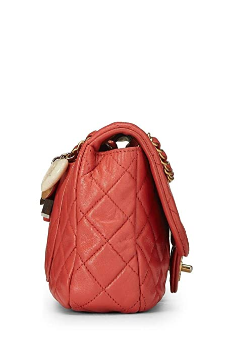 dbd0a6075b27 CHANEL Cerise Quilted Lambskin Charms Flap Bag Small (Pre-Owned)  Handbags   Amazon.com