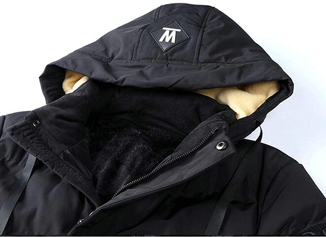 Cromoncent Mens Outwear Hoodie Down Coat Stand Collar Casual Parkas Jacket