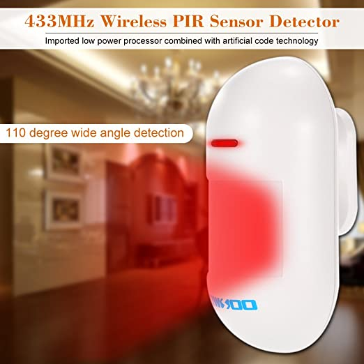 OWSOO Sensor PIR 433MHz Detector Infrarrojo Pasivo Inalámbrico para Sistema de Seguridad de Alarma: Amazon.es: Bricolaje y herramientas