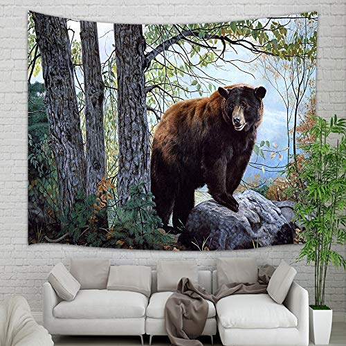 (NYMB Wild Animal Bears Tapestry Wall Hanging, Brown Bear on Stone in Wooden Forest Wall Tapestry Art, Tapestries for Home Decorations TV Backdrop Dorm Decor Living Room Bedroom, Beach Towel,)