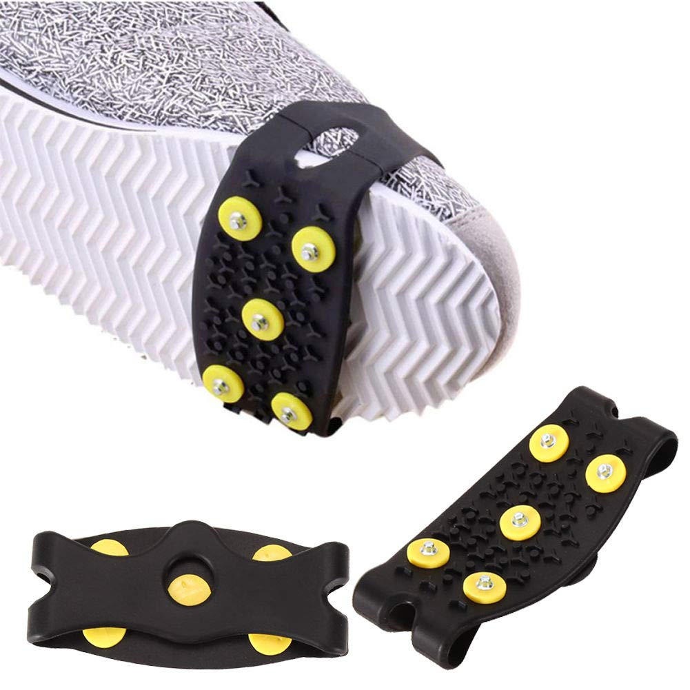 CRAZYON 1  Paire d'exté rieur Simple Coque en Silicone antidé rapant 5-Teeth Griffe Chaussure Grip Coque Spike Crampons, Noir, 110 * 50 * 3mm