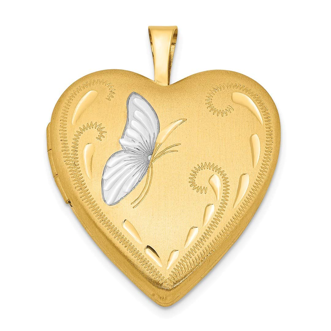 ICE CARATS 1/20 Gold Filled Butterfly 19mm Heart Photo Pendant Charm Locket Chain Necklace That Holds Pictures Fashion Jewelry Ideal Gifts For Women Gift Set From Heart