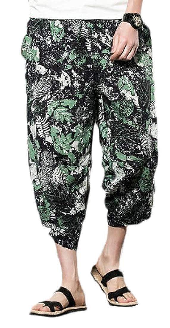 Wofupowga Mens Elastic Waist Chinese Style Summer Baggy Print Capri Pants