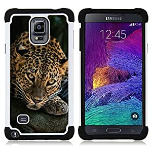 BullDog Case - FOR/Samsung Galaxy Note 4 SM-N910 N910 / - / ANIMAL NATURE LEOPARD FELINE CAT BIG /- H??brido Heavy Duty caja del tel??fono protector din??mico - silicona suave