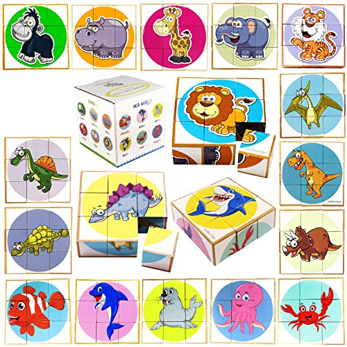 Wooden Cube Puzzle - 18 in 1 - Educational Toy - Jigsaw Puzzle 3D Puzzle Animal and Dino Puzzle - Toy for 2,3,4,5 Year Old Boy and Girl