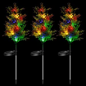 Solar Garden Stakes Lights, Christmas Solar Decorations Outdoor Decor Pine Trees with Multi Color LED Flash Lights Waterproof for Home Lawn Yard Patio Pathway Landscape, 3 Pack (Pine)