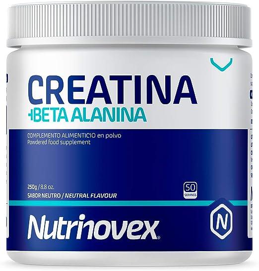 Nutrinovex Creatina Monohidratada y Beta Alanina para aumentar la fuerza, resistencia y masa muscular | 250g en sabor neutro