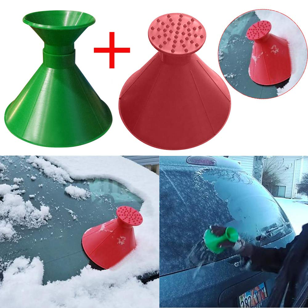 Windshield Ice Scraper Snow Shovel Tool+Funnel, Scrape A Round Magic Cone-Shaped by PSFS (Red Green)