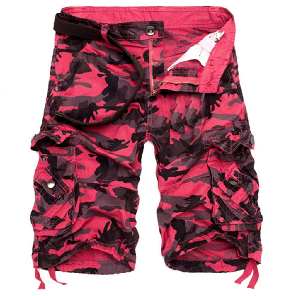 Dacawin Multi-Pockets Casual Camouflage Cargo Short Pants Men Relaxed Outdoors Work Beach Trousers