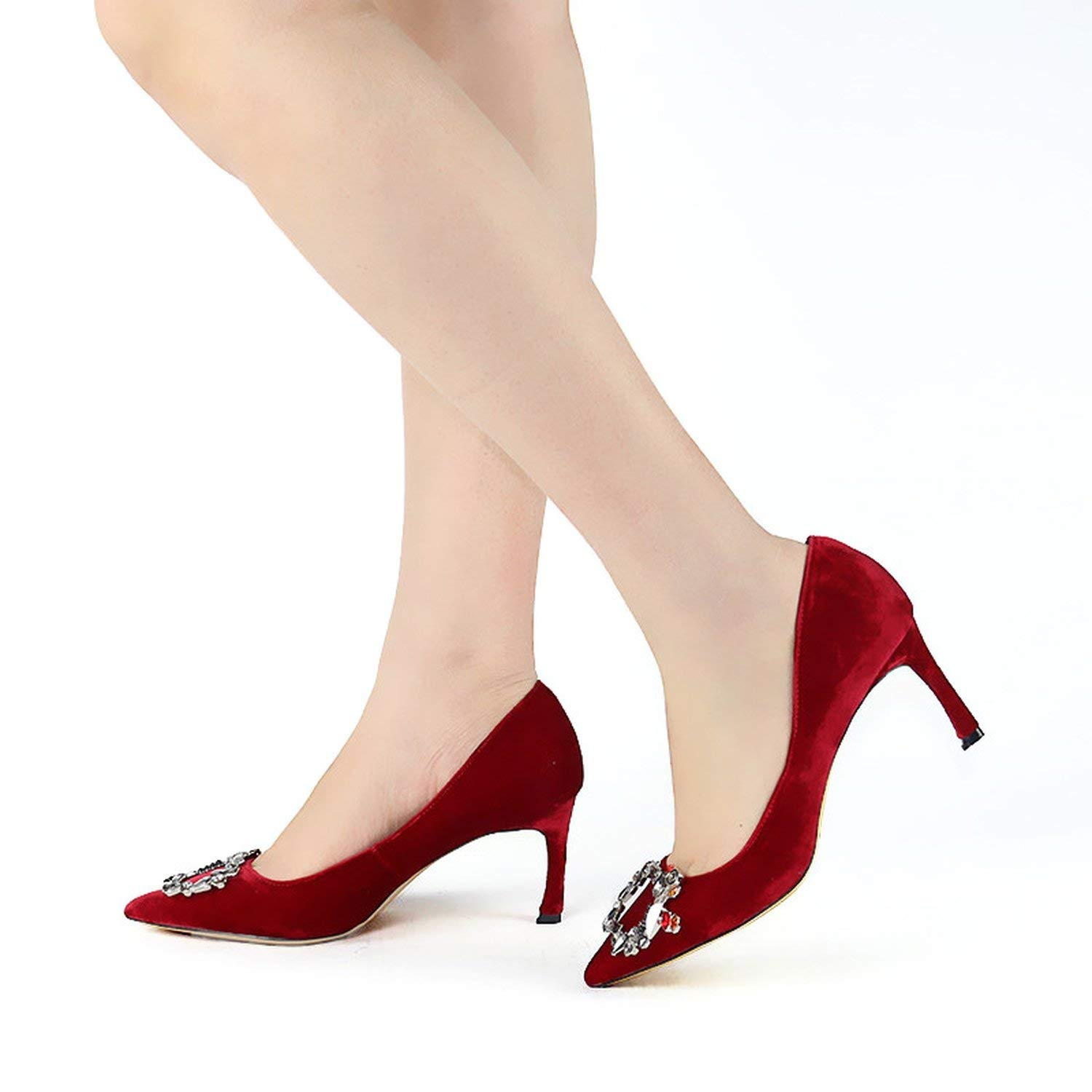 Genuine Leather Women Pumps High Heels Shoes Spring Brand Thin Heel Wedding Shoes Woman Pointed Toe Crystal Royal Blue Pumps DO,Red,6.5