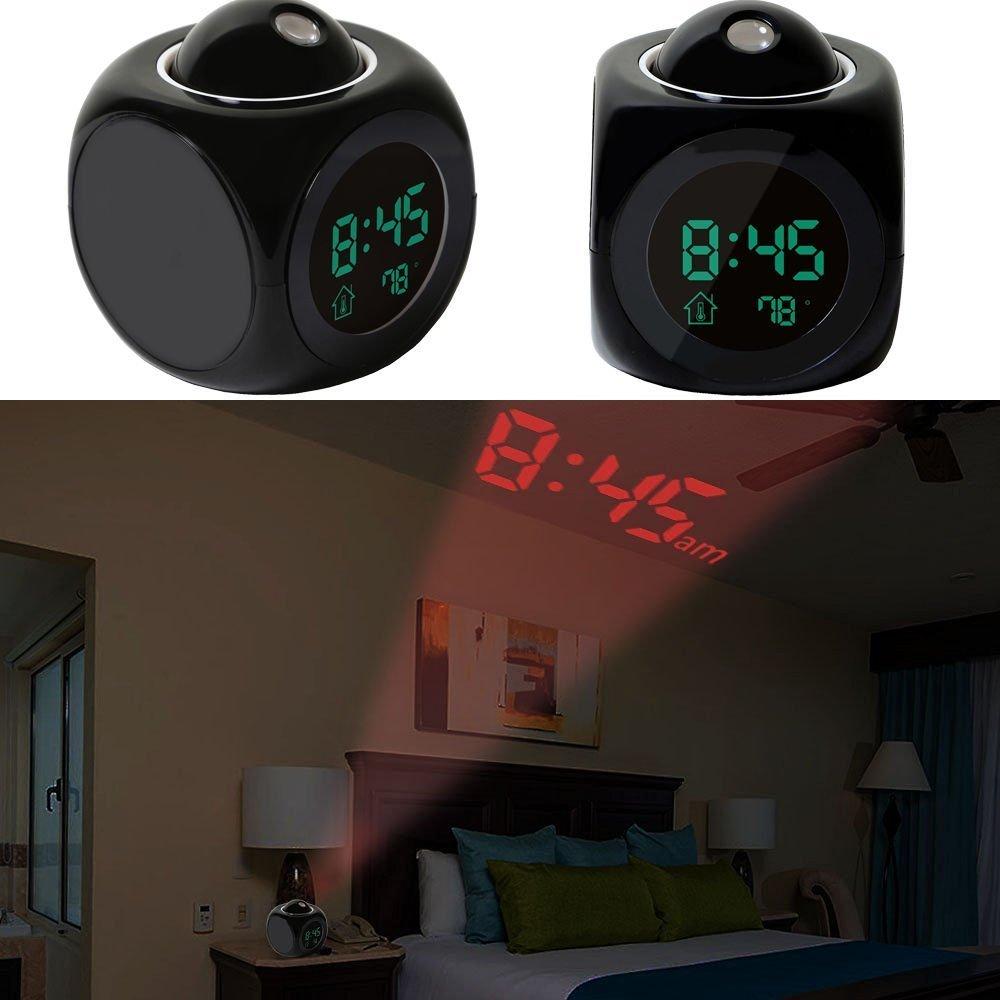 2/diff/érents modes de temps//mise en veille programmables noir GPCT Alarme parlante num/érique avec affichage de la temp/érature projection sur mur//plafond affichage LED