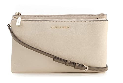8cdb20e500aa MICHAEL Michael Kors Women's Double Zip Cross Body Bag (Oat/Truffle/Mushroom )