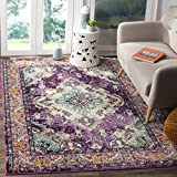 Safavieh Monaco Collection MNC243L Vintage Bohemian Violet and Light Blue Distressed Area Rug (5'1″ x 7'7″)