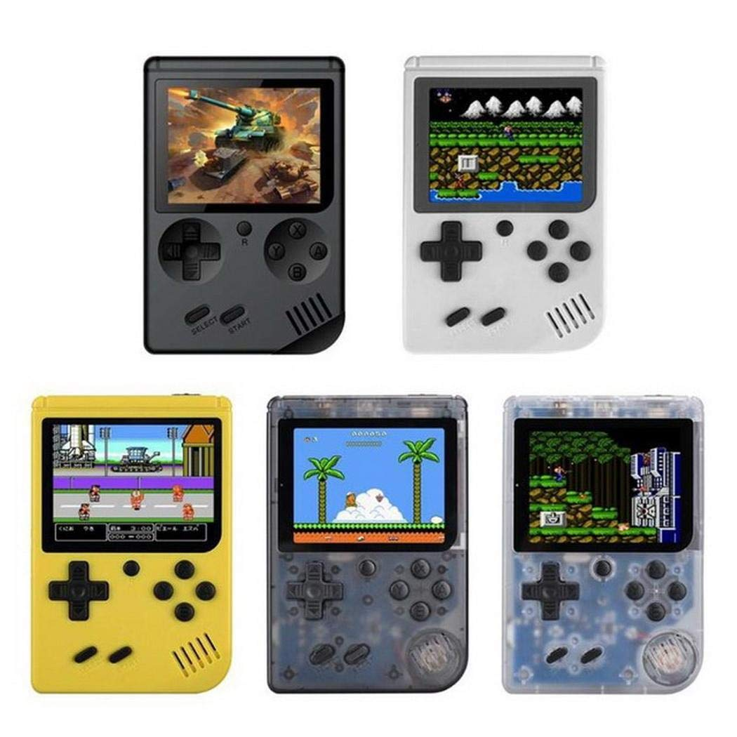 Whatyiu Handheld Portable Game Console, 168 Classic Games 3 Inch LCD Screen Portable Retro Video Game Console Support for Connecting TV and Two Players, Good Gifts for Kids and Adult(Transparent)