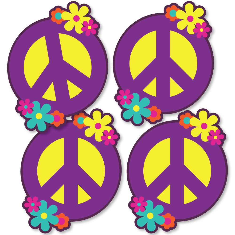 60's Hippie - Peace Sign Decorations DIY 1960s Groovy Party Essentials - Set of 20