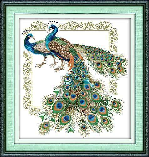 Lucky peacocks 48/×52CM Joy Sunday Cross Stitch Kit 14CT Stamped Embroidery Kits Precise Printed Needlework