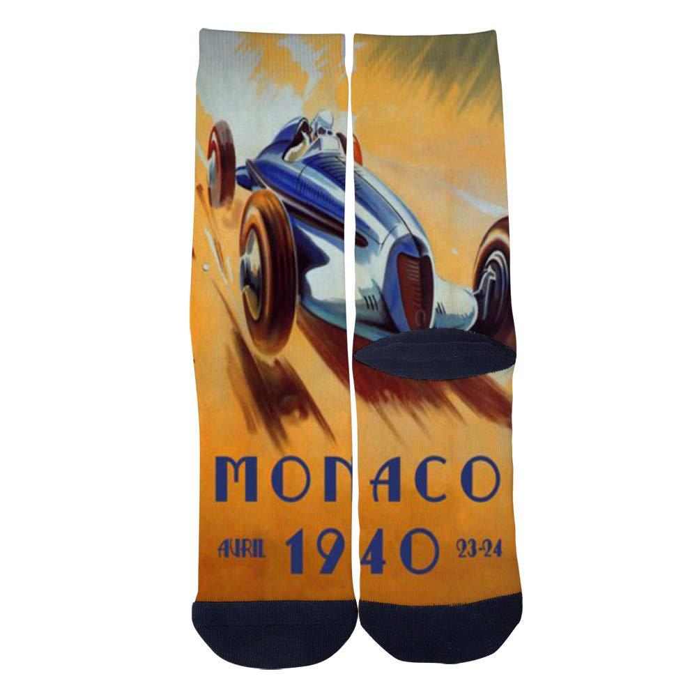 Monaco Car Automobile Race Grand Prix Vintage Poster Socks Mens Womens Casual Socks Custom Creative Crew Socks
