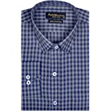 ACCOX Men's Checkered Cotton Full Sleeve Regular Fit Formal Shirt for Man