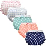 Baby Girls Bloomers Newborn Infant Toddler Diaper Covers Briefs Underwear Set with Cotton Bow Ruffle for Kids Girls 0-4T