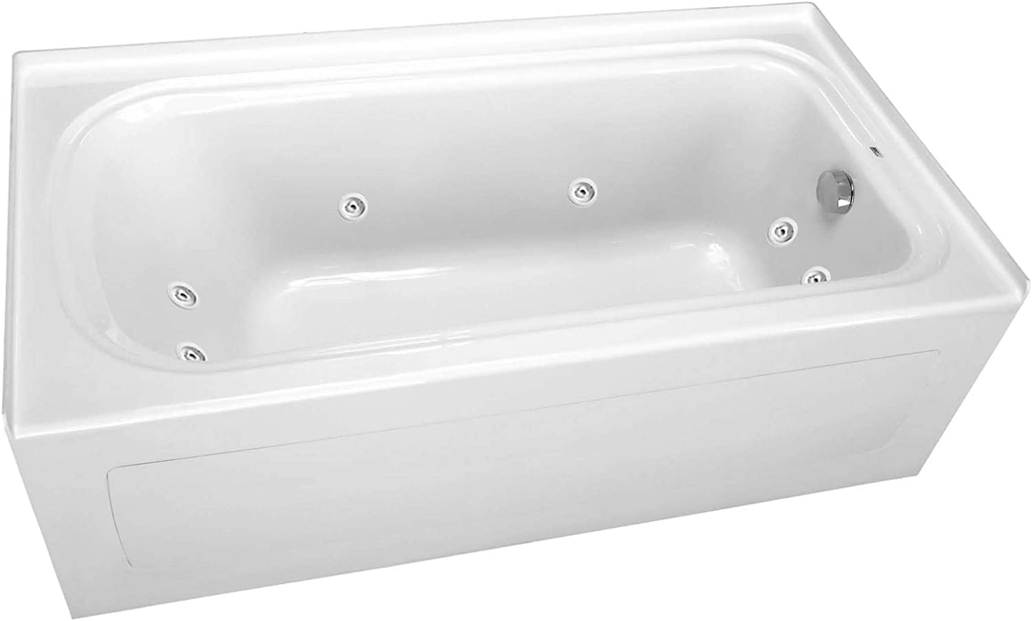 """PROFLO PFW7236ARSKWH PROFLO PFW7236ARSK 72"""" x 36"""" Alcove 8 Jet Whirlpool Bath Tub with Skirt and Left"""
