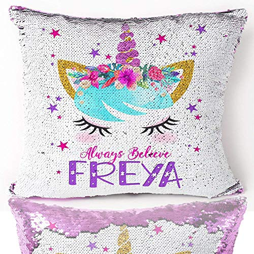 "Unicorn Mermaid Scale Sequins Pillow Case Reversible Goddess Throw Cushion Cover Decor for Christmas, Birthday Party, Purple Pillowcase, 16""x16"" from bohrpeter"