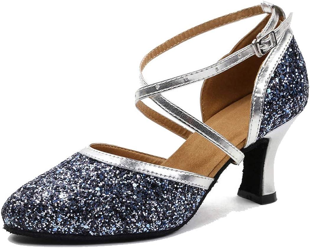 MGM-Joymod Womens Peep Toe Cross Strap Rhinestones Social Tango Ballroom Latin Modern Dance Shoes Wedding Party Sandals