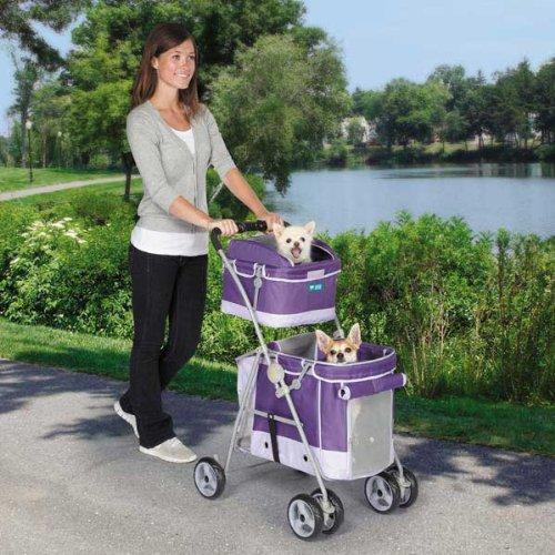 Guardian Gear Double Decker Pet Stroller for Dogs and Cats, Grape, My Pet Supplies