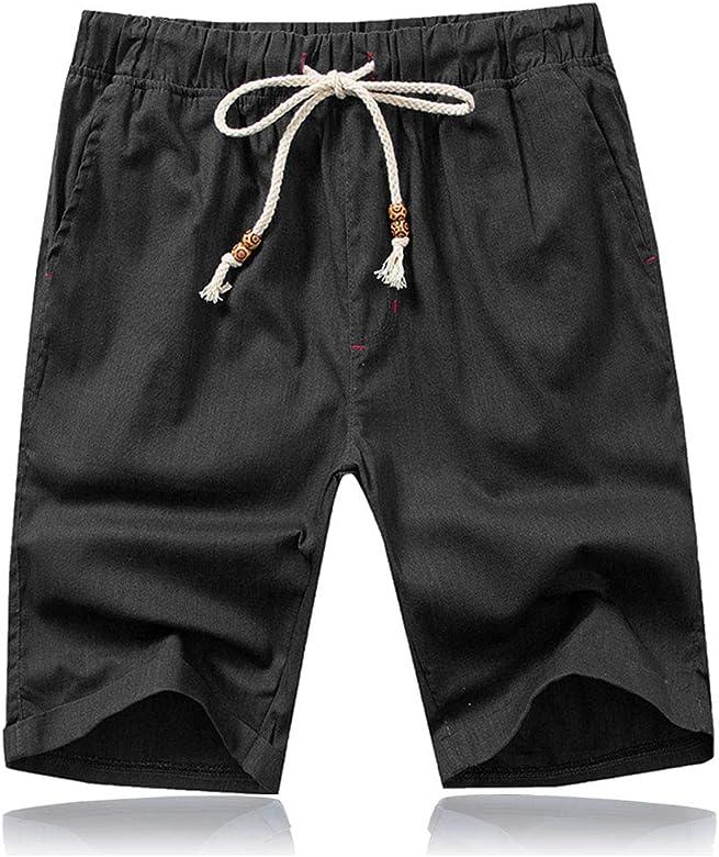 JustSun Mens Shorts Summer Casual Smart Shorts Elasticated Waist with Pockets