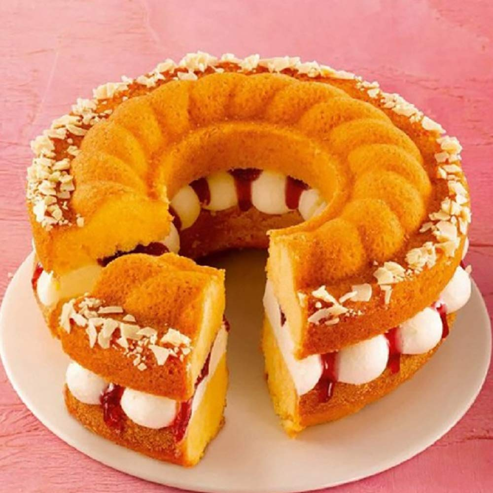 MyLifeUNIT Nonstick Springform Pan 7 Inch Bundt Cake Pan with 2 Bases for Chiffon Cakes