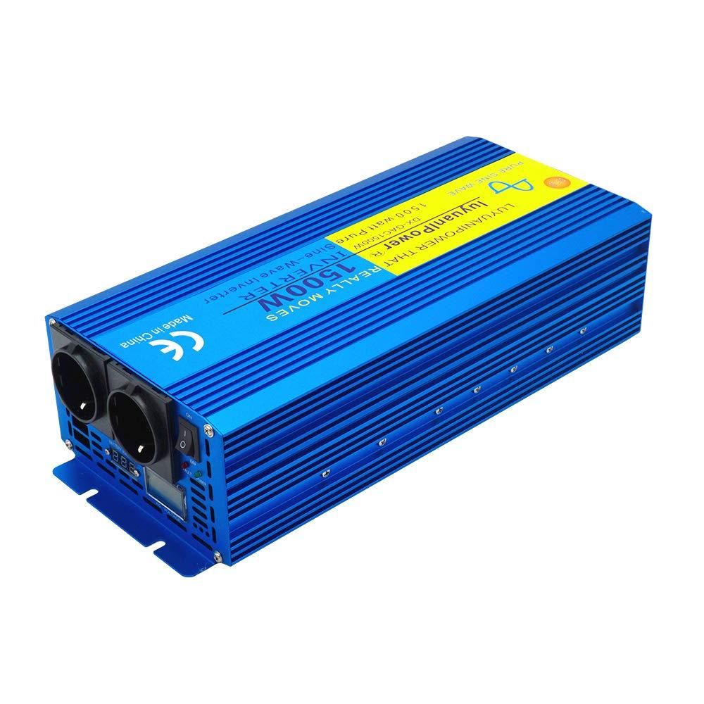 Wohnwagen Yinleader Spannungswandler 1500W//3000W 12V 230V Reiner Sinus Wechselrichter LED+LCD Power Inverter mit 2 Steckdose und LCD-Display Reisen Camping Boot f/ür Auto