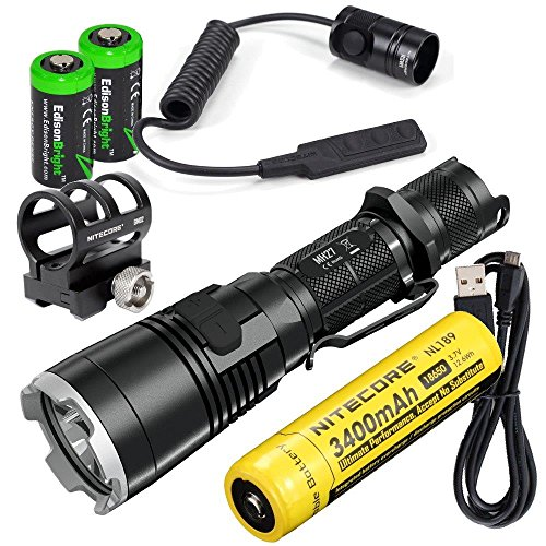 EdisonBright Nitecore MH27 1000 Lumens CREE LED USB rechargeable multi-color Flashlight, 18650 battery, Holster, RSW1 Pressure Switch and GM02 Weapon Mount with 2X CR123A Lithium Batteries bundle - Turbo Auxiliary Fan