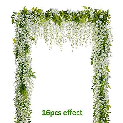 Lvydec Wisteria Artificial Flowers Garland, 4Pcs Total 28.8ft Artificial Wisteria Vine Silk Hanging Flower for Home Garden Outdoor Ceremony Wedding Arch Floral Decor