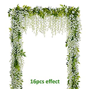 Lvydec Wisteria Artificial Flowers Garland, 4Pcs Total 28.8ft White Artificial Wisteria Vine Silk Hanging Flower for Home Garden Outdoor Ceremony Wedding Arch Floral Decor 104