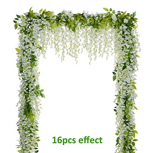 (Lvydec Wisteria Artificial Flowers Garland, 4Pcs Total 28.8ft White Artificial Wisteria Vine Silk Hanging Flower for Home Garden Outdoor Ceremony Wedding Arch Floral)