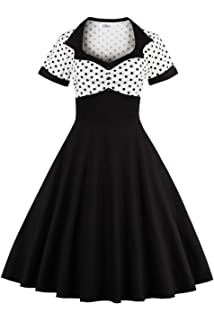 8c1d15cf2 YACUN Women's Vintage 1940s Polka Dot Fit And Flare Midi Swing Party Dress