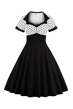 c50290a60 YACUN Women's Vintage 1940s Polka Dot Fit And Flare Midi Swing Party Dress:  Amazon.co.uk: Clothing