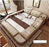 All in One Leather Double Bed Frame with Speakers Storage Safe...
