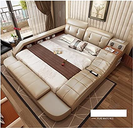 Amazoncom All In One Leather Double Bed Frame With Speakers