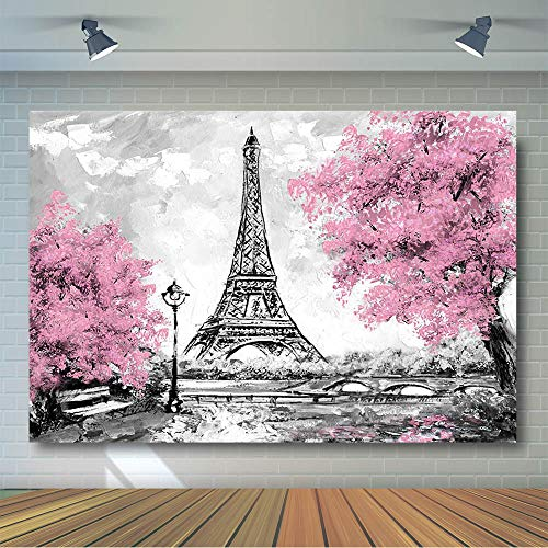 (COMOPHOTO Eiffel Tower Photography Backdrop Gray Paris View Pink Flowers Trees Photo Studio Props Wedding Birthday Theme Party Banner Background for Photo)