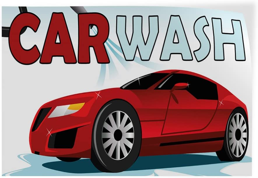 Set of 2 54inx36in Decal Sticker Multiple Sizes Car Wash #1 Style D Automotive car wash Outdoor Store Sign White
