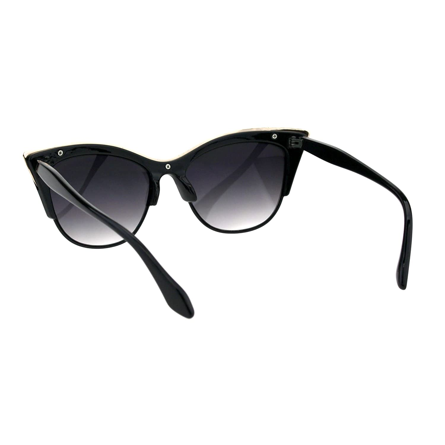 01a9ccd00044 Amazon.com: SA106¨ Womens High Point Squared Half Rim Look Cat Eye  Sunglasses (Black, 53): Clothing